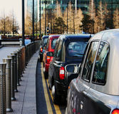 Row of london taxis Royalty Free Stock Images