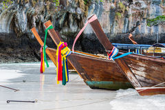 Row of long-tailed boat at Andaman Sea . Royalty Free Stock Images