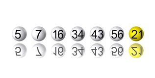 Row of Lottery Number Balls Royalty Free Stock Photo