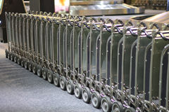 Row of luggage carts at the airport Stock Image