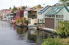 Row of luxury houseboats Royalty Free Stock Photos