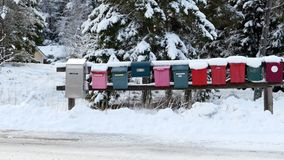 A row of mail boxes stock footage