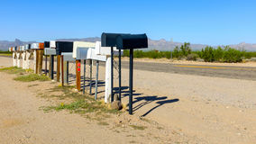 Row of mailboxes in nowhere Royalty Free Stock Photography