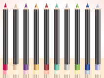 Row of make up pencils Royalty Free Stock Photo