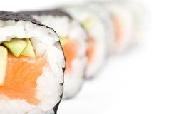 Row of maki rolls Stock Photo