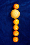 Row of mandarines and an orange. On dark blue background - vertical Royalty Free Stock Photo