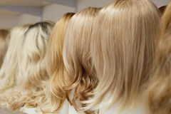 Row of Mannequin Heads with Wigs Royalty Free Stock Images