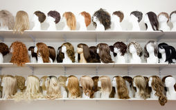 Row of Mannequin Heads with Wigs Stock Photo