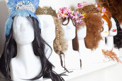 Row of Mannequin Heads with Wigs Royalty Free Stock Image