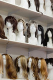 Row of Mannequin Heads with Wigs Royalty Free Stock Photo