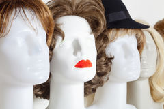 Row of Mannequin Heads with Wigs Royalty Free Stock Photos