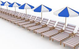 Row from many deck-chairs with parasols Royalty Free Stock Photography