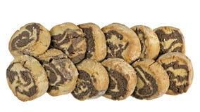 Row of marble shortbread cookies stock photos