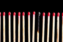 Row of matches with one burned Royalty Free Stock Photography