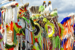 Row of men at powwow. Coeur d'Alene, Idaho USA - 07-23-2016. Young dancers participate in the Julyamsh Powwow on July 23, 2016 at the Kootenai County Royalty Free Stock Images