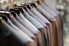 Row of men`s suits hanging on hanger Royalty Free Stock Photography