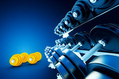Row of metal dumbells with orange dumbbells on blue background Stock Photography