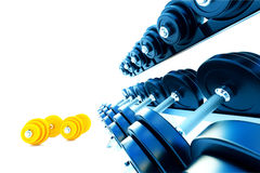 Row of metal dumbells with orange dumbbells on white background Royalty Free Stock Photo
