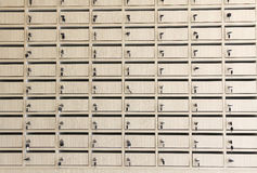 Row of metal lockers with keys for safekeeping of valuables Stock Photography