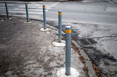 Row metal poles along the road to control the movement of the car. In Novi Sad, Serbia Stock Photo