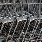 Row of Metal Shopping Carts Stock Image