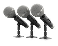 Row of microphones Stock Photography