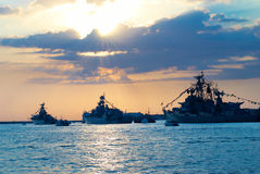 Row of military ships Stock Images