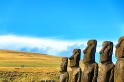 Row of Moai Statues Stock Image