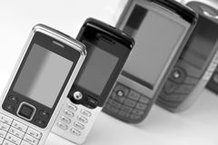 Row of mobile phones Royalty Free Stock Photo