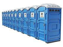 Row of mobile portable blue plastic toilets Royalty Free Stock Photo