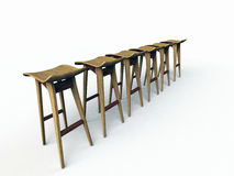 Row of modern bar stools Royalty Free Stock Images