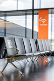Row of modern chair with free wifi sign Royalty Free Stock Photos