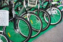 Row modern city bikes in shop. Row modern city bikes in sports shop Royalty Free Stock Photo