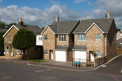 A row of modern English cottages. UK Stock Images