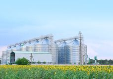 Row of modern granaries for storing cereal grains stock photo