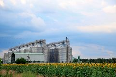 Row of modern granaries for storing cereal grains royalty free stock photography