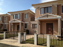 Row of modern townhouses Stock Images