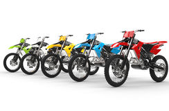 Row of motocross bikes Stock Photography