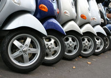 Row of motocycles. On the street Stock Photography