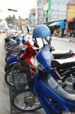Row of motorbikes royalty free stock photo