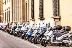 Row of Motorbikes in Florence Italy Stock Photography