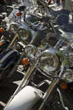 Row of Motorcycle Headlights Royalty Free Stock Photography