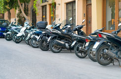 Row of motorcycles. Row of motorcycles on the parking lot Stock Image