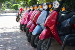 Row of motorcycles on the street Royalty Free Stock Photography