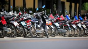 Row of motorcycles on the street. Thailand video Royalty Free Stock Images