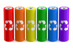 Row from multicolored batteries recycle. Size AA Royalty Free Stock Photography