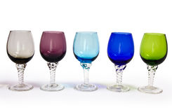 Row of multicolored glasses Royalty Free Stock Image