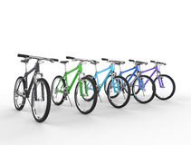 Row of multicolored mountain bikes Stock Images