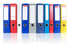 Row of multicolored ring binders Stock Photos