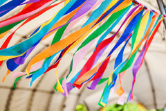 Row of multicolored textile stripes in the wind Stock Images
